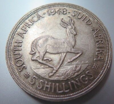 South Africa - 1948 Five Shilling Silver Piece
