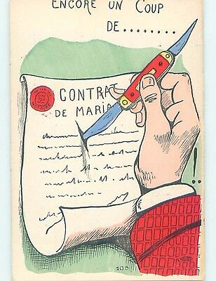 Pre-1907 divorce comic foreign MAN CUTTING UP HIS MARRIAGE CONTRACT HL9168