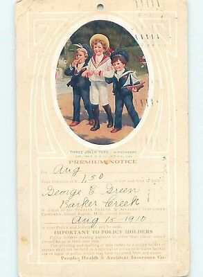 1910 Boys With Toy Sailboat Boat - Peoples Health Insurance Postcard HL6863