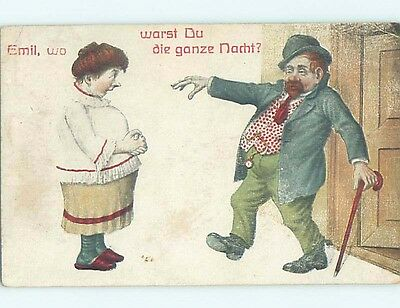 Pre-Linen comic foreign DRUNK MAN STAGGERS HOME TO HIS WIFE - TEMPERANCE HL9121