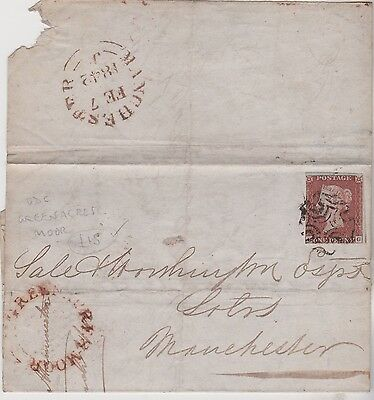 1842 QV ENTIRE WITH 1d RED IMPERF STAMP MX CROSS & RARITY GREENACRES MOOR UDC