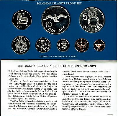 Solomon Islands 8-Coin Proof Set 1981 In Case Nice Coins With Birds 2 Ozs Rare