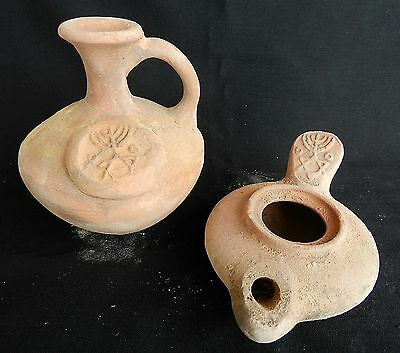 2 Biblical Ancient Antique Jug & Oil Lamp Jerusalem Clay Pottery Terracotta Rep