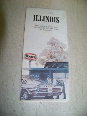1972 Texaco map of IL  gas oil pump station 72 Chevy Ford Dodge Cadillac
