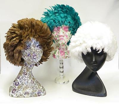 Vintage Womens 1950S Stylish Kitch Retro All Feather Hat Pull On One Size
