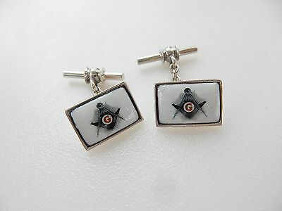 Pair Sterling Silver & Enamel Masonic Square & Compass Mens Cufflinks Hallmarked
