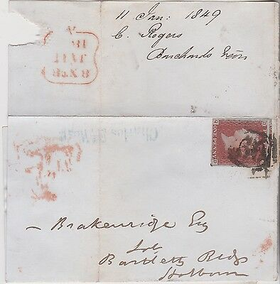 1849 QV WRAPPER WITH 4 MARGIN 1d RED IMPERF STAMP & CHARLES ST WEST NAME-STAMP