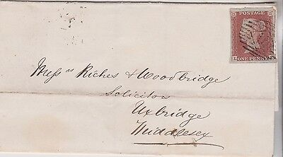1848 QV WRAPPER WITH 1d RED IMPERF STAMP MAILED TO UXBRIDGE MIDDLESEX