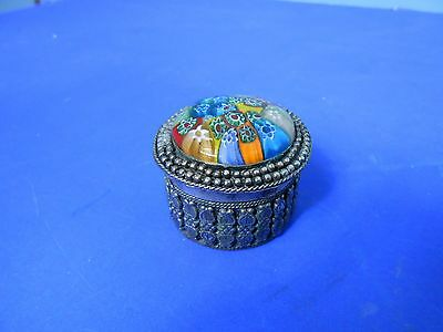 Vintage white metal pill box with floral decorated lid, possibly polished stones