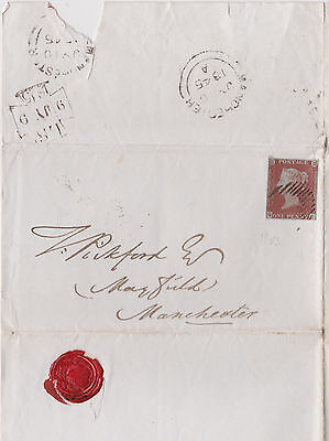 1845 QV LETTER WITH 1d PENNY RED IMPERF STAMP MAILED TO MAYFIELD MANCHESTER