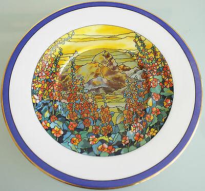 """Hollyhock Sunrise Stained Glass Gardens Plate Hamilton Collection 7 1/2""""(19cm)"""