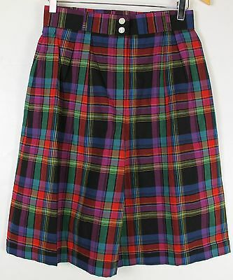 Vintage 90's JAEGER Shorts Womens Size 27 Plaid Cotton Pleated Wide Leg Pleated