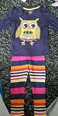 Girls baby Gap age 3 multicoloured owl outfit top and leggings. Vguc