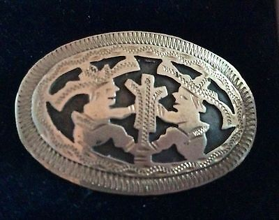 Lovely Engraved Mexican Silver Brooch Showing 2 Mexicans Sitting With Cactus