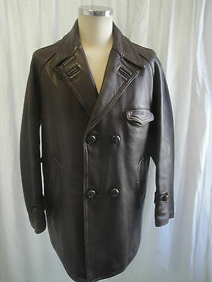 Vtg 50s French 40s style leather motorcycle rockabilly work chore jacket coat