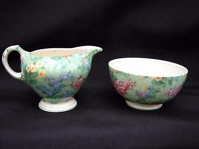 Empire Porcelain Chintz Lilac Time Creamer & Sugar bowl made in England