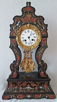 Antique Napoleon Clock Mantel Portico Pillar Ebony Brass Pendulum Inlaid Brass