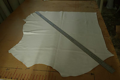 UPHOLSTERY SMALL 1/4 LEATHER HIDE OFF WHITE BOAT CAMPER QUALITY 11+ sq ft? SS11