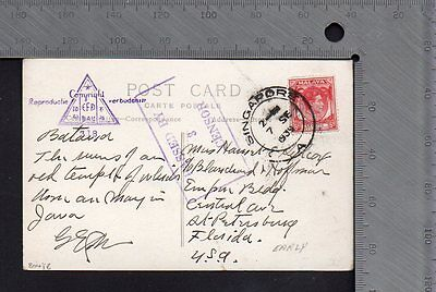Postal History WW2 Malaya Temple RP PC Sep 7 1939 Singapore to USA Early Censor