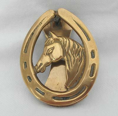 Vintage BRASS DOOR KNOCKER with HORSE HEAD & HORSESHOE Riding / Equestrian Theme
