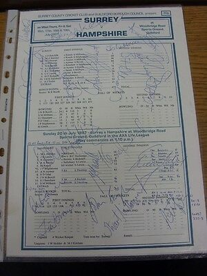 16/07/1997 Cricket: Autographed Scorecard, Surrey v Hampshire - Hand Signed By A