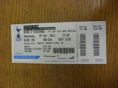 07/03/2012 Ticket: Tottenham Hotspur v Stevenage [FA Cup Replay] (Away Supporter