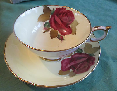 Vintage Paragon Cup and Saucer Red Rose gold gilding
