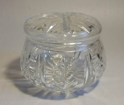 Vintage Cut Glass Crystal Pot with Lid #1. Table/ Dressing Table/ Keepsakes