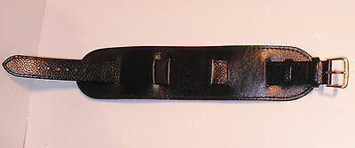 Quality 18 or 20mm 3 piece Military Style Leather Watch Strap - Black