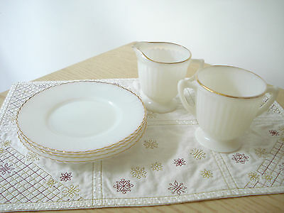 MacBeth Evans '30s PETALWARE MONAX Gold Trim Sugar Bowl Creamer & 4 Bread Plates