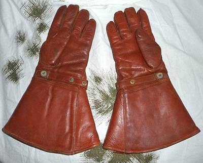 Vintage Leather Flying Gloves Motorcycle Gauntlets Driving Gloves. English Made.
