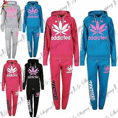 Womens Ladies Addicted Fleece Essentials Hoody Sweats Tracksuit Jog Suit Uk 8-14