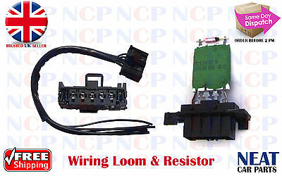 Vauxhall Corsa D Heater Motor Blower  Wiring Harness Loom & Resistor Kit 08-16
