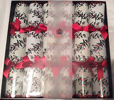 Pack of 6 x 34cm DELUXE TOM SMITH CHRISTMAS CRACKERS - Red & Green Foliage