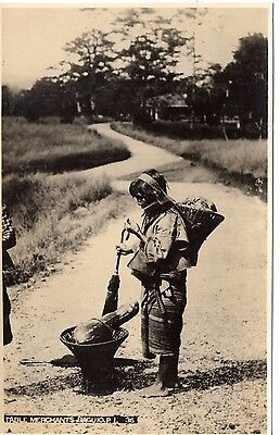 Rare Philippines Real photo picture postcard of table merchant Baguio c1910