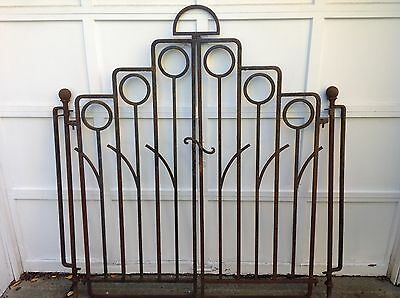 Great Pair Antique Art Deco Mid Century Modern Heavy Iron Gates with Posts