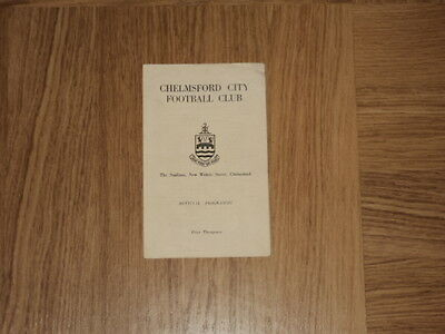 Chelmsford City Res v Dartford Metro League Prof Cup Football Programme 25.10.65