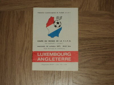 Luxembourg v England Football Programme 12.10.77