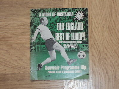 Old England v Rest of Europe Football Programme 16.10.73