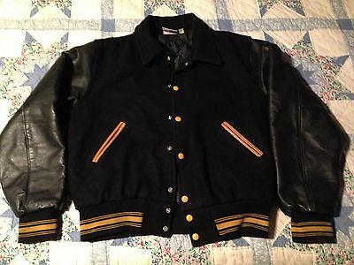 Vintage Letter Varsity Coat Jacket Standard Pennant Wool Leather L