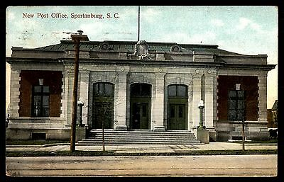 New Post Office Spartanburg Sc Colored Postcard By Intl Pc Co