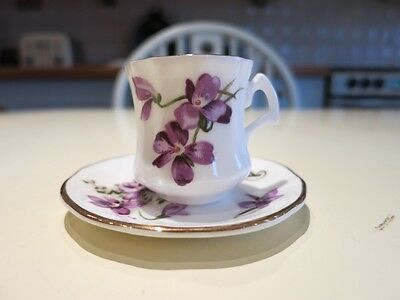 Lovely Hammersley Miniature Cup And Saucer Victorian Violets