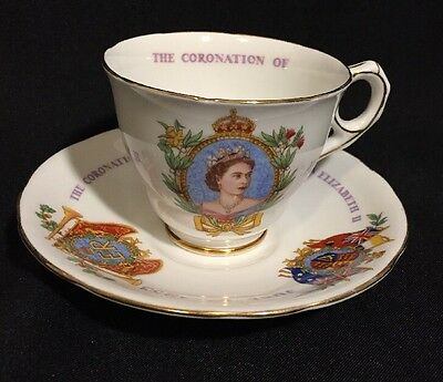 ROYAL STAFFORD Bone China Cup Saucer The Coronation of Queen Elizabeth 1953