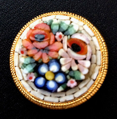 Vintage Glass Mosaic Flowers Set In Metal Button - 1 1/16""