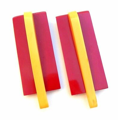 Vintage 20s 30s ART DECO Machine Age Red Yellow Galalith & Celluloid DRESS CLIPS