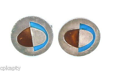 Vintage 1960s 70s Handmade Abstract Modernist Sterling Silver & Enamel CUFFLINKS