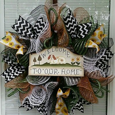 Dog Puppy Welcome To Our Home Pet Deco Mesh Wreath Ribbon Mesh