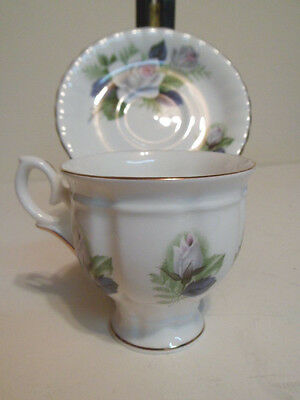 Mint Staffordshire Rose pattern Cup and Saucer Set