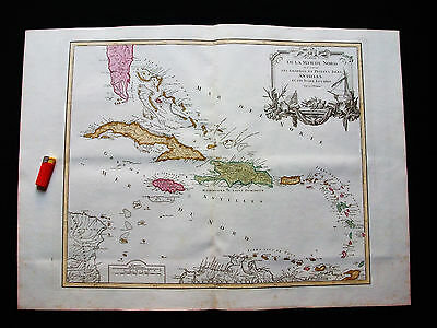 1770/90 VAUGONDY -very BIG map CENTRAL AMERICA WEST INDIES CUBA JAMAICA ANTILLES