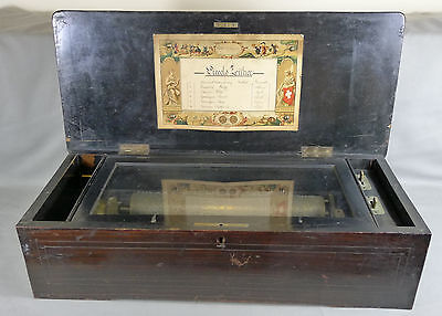c. 1880s Piccolo Zither Music Box, Rosewood Box with Inlay, Piallard?